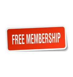 Free membership square sticker on white vector