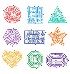 game labyrinth mazes way with various entrance vector image