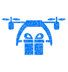 Gift drone delivery grunge icon vector