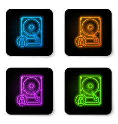 glowing neon hard disk drive and lock icon vector image