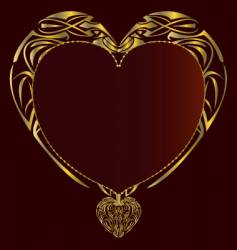 gold red heart background vector image