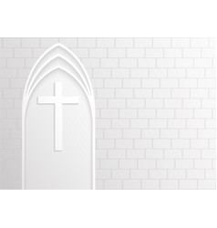 Good friday white cross on white brick background vector