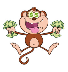 Greedy monkey cartoon character jumping vector
