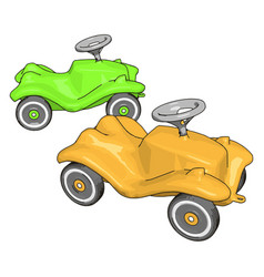 green and yellow kids car on white background vector image