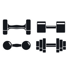 Gym dumbell icon set simple style vector