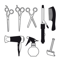 Hand drawn barber accessories set vector