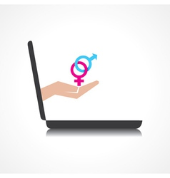 hand holding malefemale symbols comes from laptop vector image