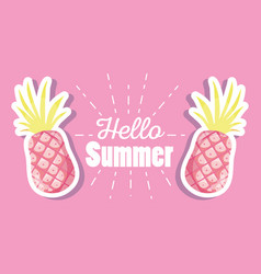Hello summer with pineapples vector