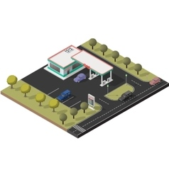 Isometric icon set representing small gas station vector