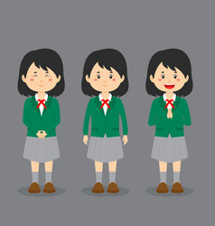 Japanese high school character with expression vector