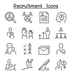 Job recruitment interview staff employee icon set vector
