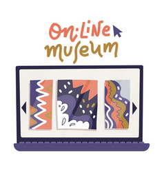 laptop computer monitor icon with art gallery on vector image