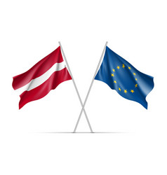Latvia and european union waving flags vector