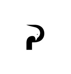 letter p with pigeons logo design vector image
