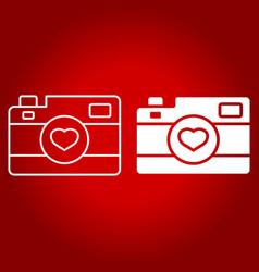 Love camera line and glyph icon vector