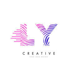 ly l y zebra lines letter logo design with vector image