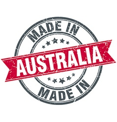 Made in australia red round vintage stamp vector