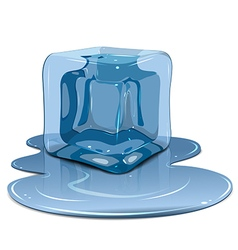 Melting ice cube vector image