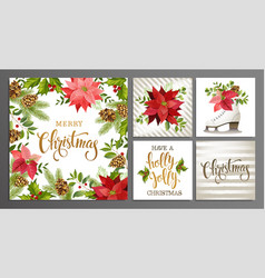 Merry christmas template set for greeting vector