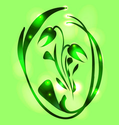 metallic tulip in a lime glow for a postcard vector image