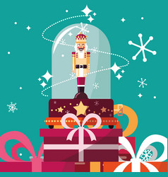 Nutcracker king in crystal sphere with gift boxes vector