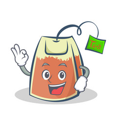 Okay tea bag character cartoon art vector
