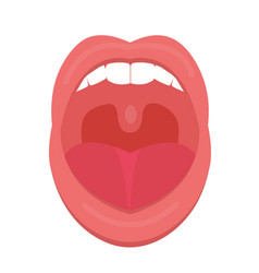 Open mouth icon flat style throat tonsils vector