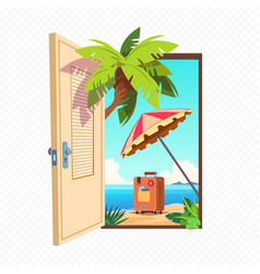 Opened spring door isolated on transparent vector