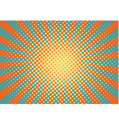 orange yelow and blue rays and dots pop art vector image
