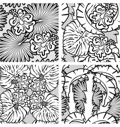 palm flower seaml black 380 vector image