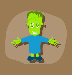 Paper sticker on stylish background zombie men vector