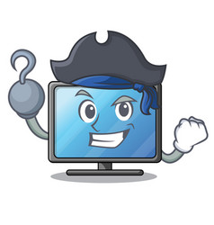 pirate lcd tv cartoon in living room vector image