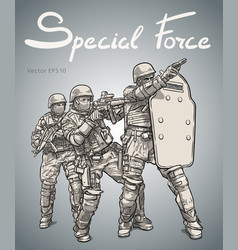 Police forces anti terror operation sketch vector