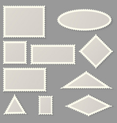 Postage stamps various shapes and sizes vector