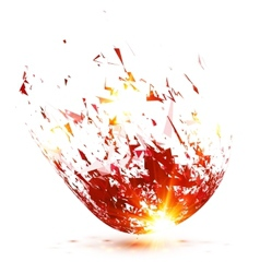 Red abstract meteorite explode vector image