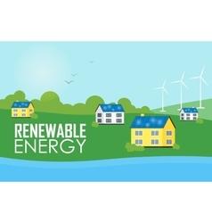 Renewable energy Eco settlement near river vector image vector image