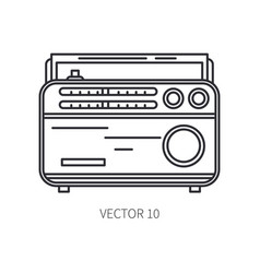 Retro broadcast fm radio tuner line icon vector