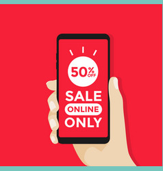 sale online only on mobile in hand vector image