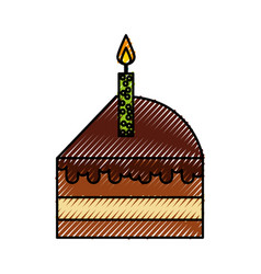 Scribble cute cake slice cartoon vector