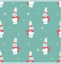 Seamless pattern with cute bunny in scarf can be vector