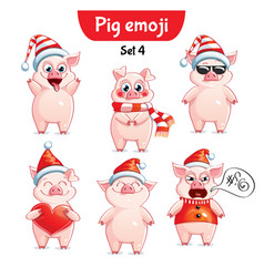Set of christmas pig characters set 4 vector