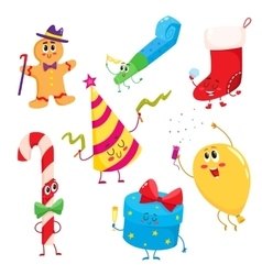 Set of cute and funny Christmas birthday holiday vector image