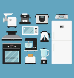 set of kitchen appliances household equipment vector image
