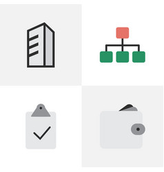 Set of simple business icons elements done purse vector