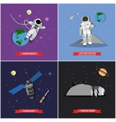 set of space mission exploration concept vector image vector image