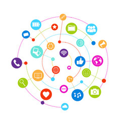 social media icons connected with lines on white vector image