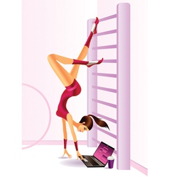 Sporty fashion model with laptop vector image