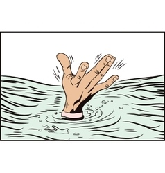 Style of pop art and old comics Hand drowning man vector