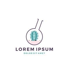 Succulent terrarium lab logo icon cactus glass vector
