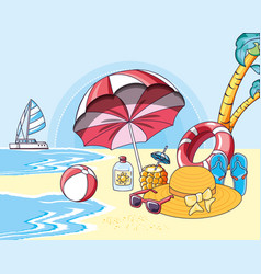 summer beach poster with icons vacation vector image